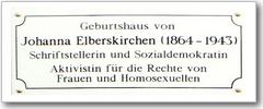 Tafel am Geburtshaus von Johanna Elberskirchen
