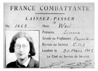 France-Combattante-Ausweis von Simone Weil