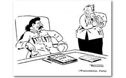 Karikatur über Krupskaja