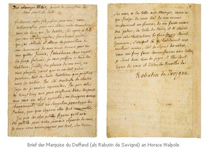 Brief der du Deffand an Walpole