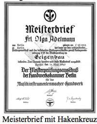 Adelmanns Meisterbrief mit Hakenkreuz