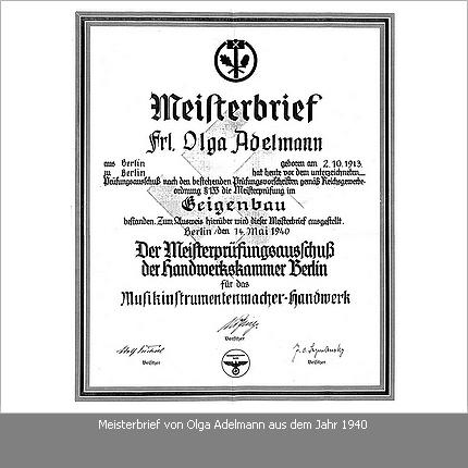 Meisterbrief Olga Adelmann