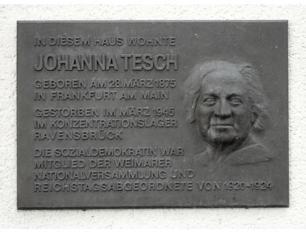 Gedenktafel für Johanna Tesch