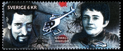 Maj Sjöwall und Per Wahlöö. Briefmarke aus Schweden, 2010