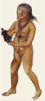 So könnte Pocahontas als Kind ausgesehen haben. (unbekannter Zeichner, British Museum)