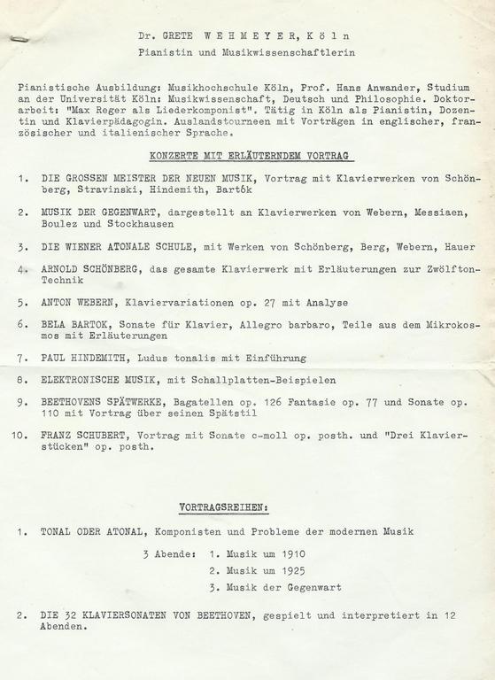 Grete Wehmeyers Repertoire für das Goethe-Institut