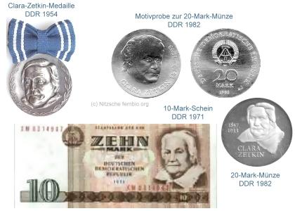 Clara Zetkin: Münzen, Banknote und Medaille
