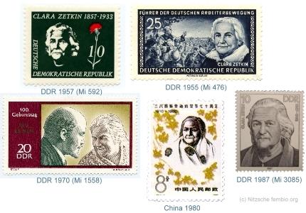 Clara Zetkin auf Briefmarken